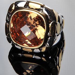 欧美回流 精美时尚镀金座镶黄水晶大戒指
