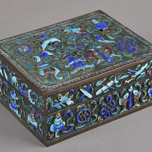 欧美回流 晚清 民国 铜胎烧蓝八宝纹方盒