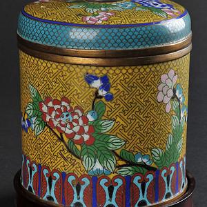 欧美回流 民国 铜胎掐丝珐琅花卉纹盖罐 带座