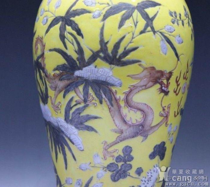 黄地粉彩描金双龙瓶图3