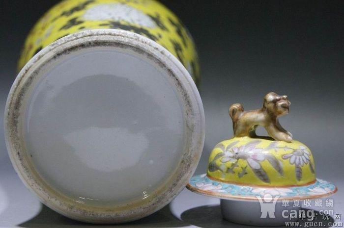 黄地粉彩描金双龙瓶图7