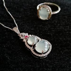 联盟 缅甸天然翡翠A货925银镶嵌首饰套装