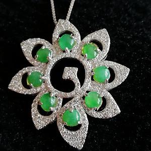 联盟 缅甸天然翡翠A货925银镶嵌满绿套装