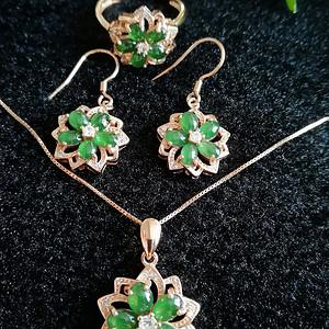 联盟 缅甸天然翡翠A货玫瑰金镶嵌满绿首饰套装