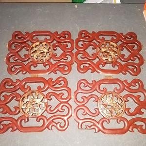 双面工十里红妆镏金雕刻板一套