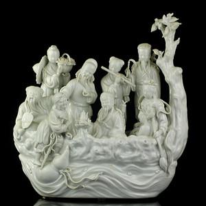 24号拍品 民国德化窑白釉八仙乘槎瓷塑