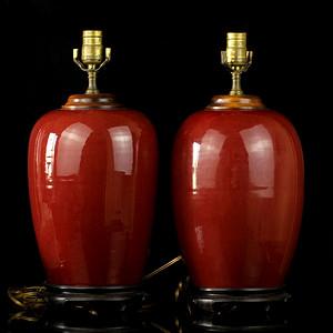 34号拍品 清中期红釉冬瓜罐台灯一对