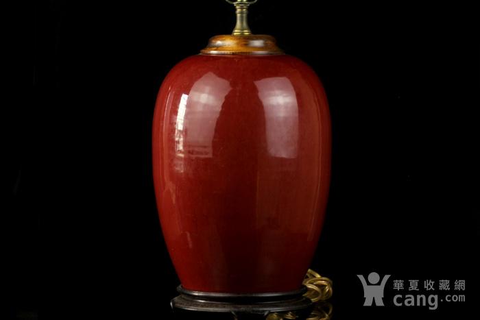 34号拍品 清中期红釉冬瓜罐台灯一对图2