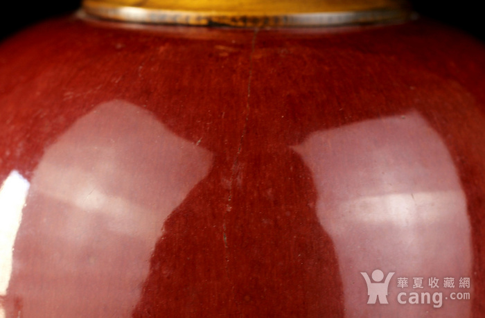 34号拍品 清中期红釉冬瓜罐台灯一对图3