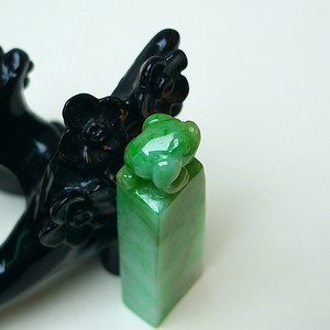 冰润满绿三脚金蟾印章