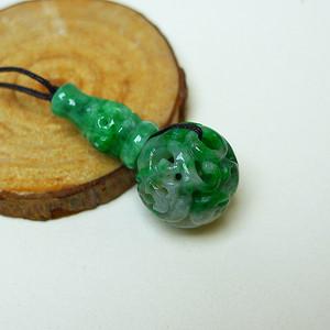 冰润满绿镂空雕吊坠