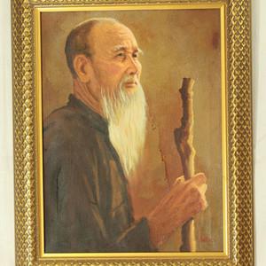 超现实老人肖像油画