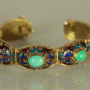 银烧蓝鎏金掐丝嵌高瓷绿松石手链