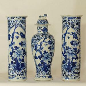 清代青花富贵白头纹箭筒及狮钮瓶 三件