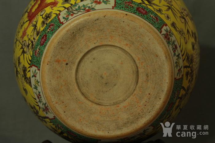 清大雅斋风格黄地粉彩龙纹大画缸 带老红木底座图9
