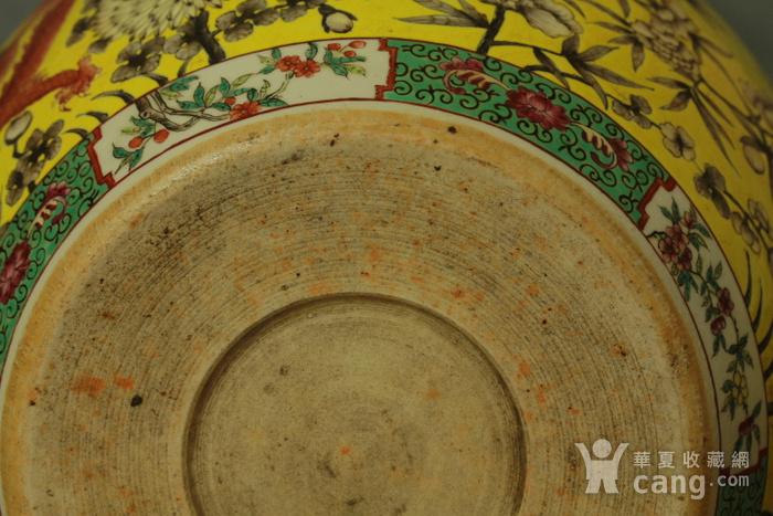 清大雅斋风格黄地粉彩龙纹大画缸 带老红木底座图10