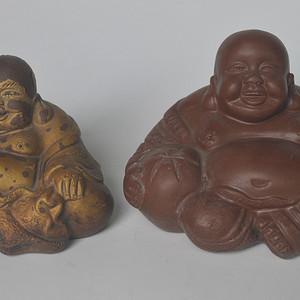 两个紫砂弥勒佛
