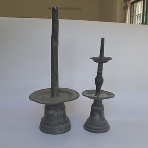 两个民国锡制灯盏