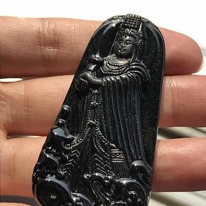 联盟  缅甸天然A货翡翠 墨翠海神妈祖挂件