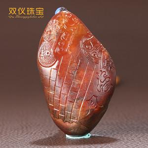 双仪珠宝 新疆和田玉红沁籽料 仿古工艺 锦灰堆