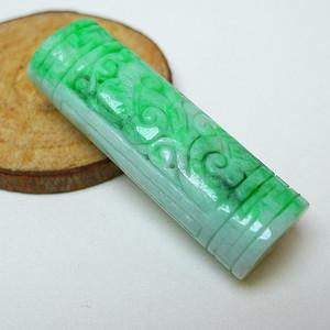 冰润带阳绿精雕平安柱吊坠