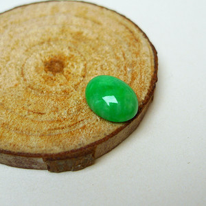 冰润满绿蛋型戒面