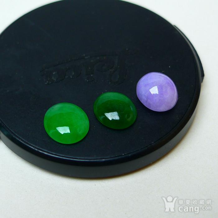 冰种满绿紫罗兰蛋型戒面图1