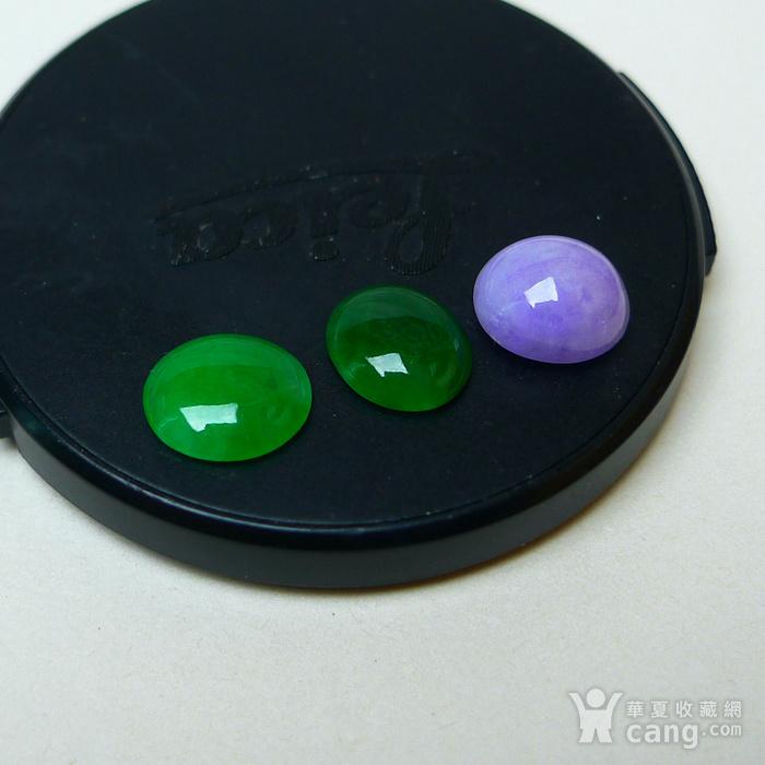冰种满绿紫罗兰蛋型戒面图2