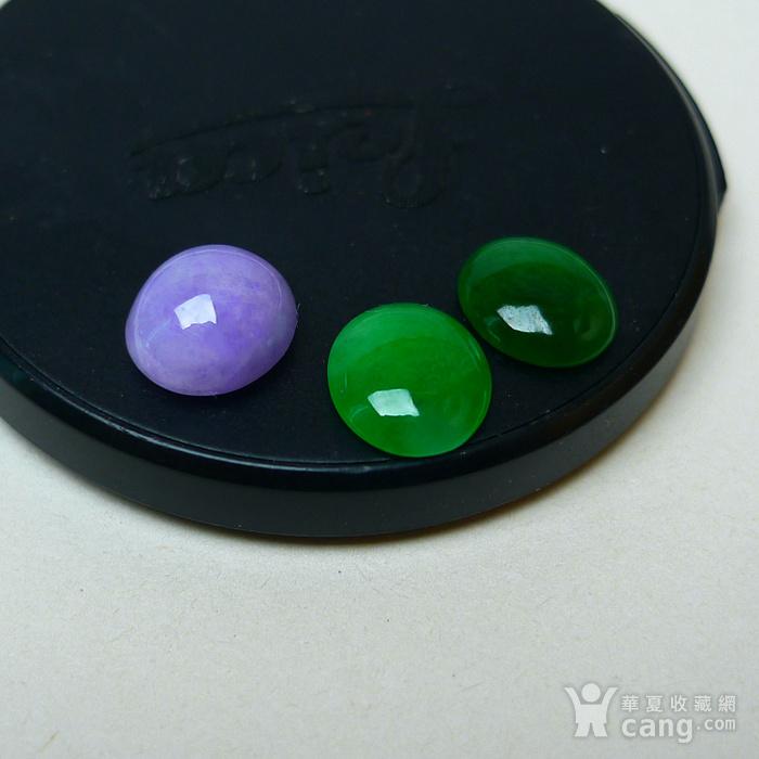 冰种满绿紫罗兰蛋型戒面图3