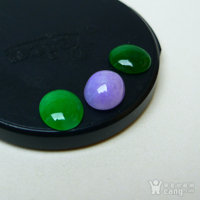冰种满绿紫罗兰蛋型戒面图8