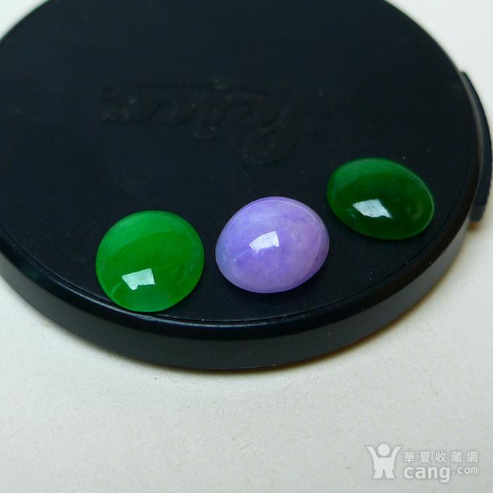 冰种满绿紫罗兰蛋型戒面图7