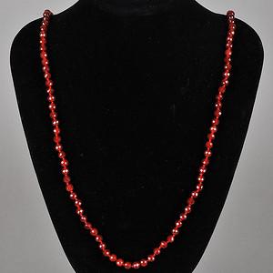 欧美回流 天然红玛瑙切面珠项链