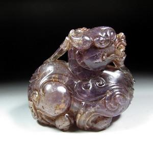 欧美回流:天然紫晶貔貅小摆件