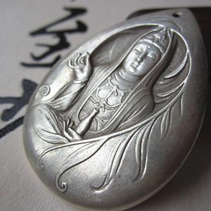 老银打造 手工雕刻 菩萨 牌 佩戴可保平安