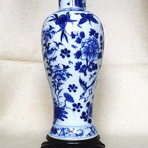 清晚期  青花折枝花观音瓶  27厘米