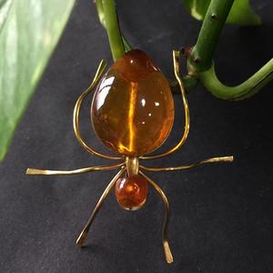 8040俄罗斯金工镶嵌金珀蜘蛛胸针