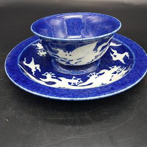 霁蓝釉茶.碟.碗 一套