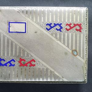 8059欧洲合成银錾珐琅烟盒