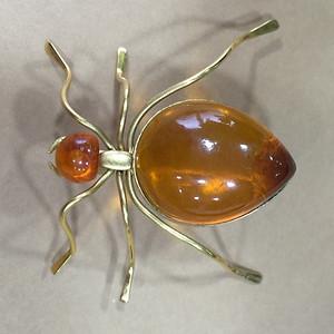 8065俄罗斯9K金珀蜘蛛胸针