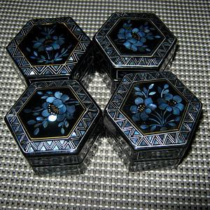 联盟 民国黑漆嵌螺钿方盒4个