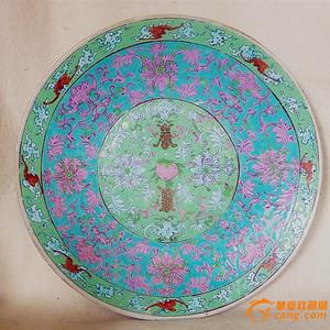 清中期  粉彩缠枝花卉福寿纹美盘