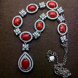 天然阿卡红珊瑚项链