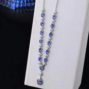 天然蓝宝石项链送国检证书