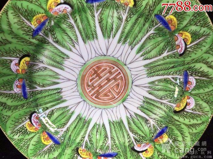 全品民国早期粉彩百财 白菜 福 蝴蝶 寿纹大盘一对图3