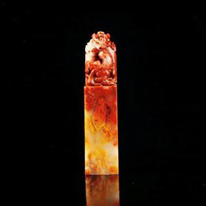 联盟 寿山稀缺结晶三彩芙蓉石古兽方印章