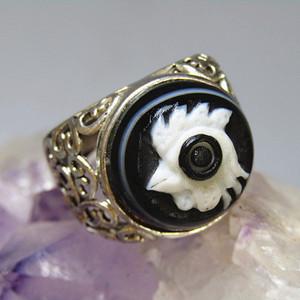 天然玛瑙 俏色巧雕 吉祥如意 戒面戒指