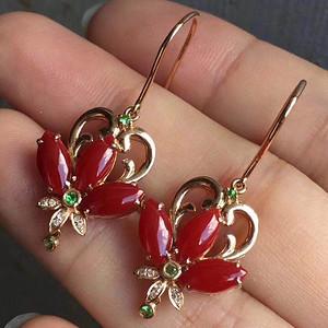 天然红珊瑚耳坠