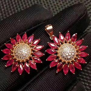 天然缅甸无烧红宝石套装