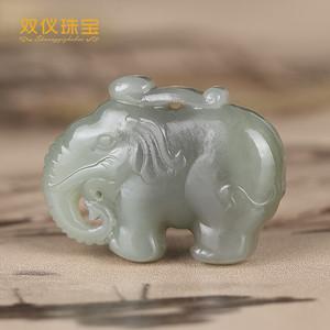 双仪珠宝 新疆和田玉巧色雕刻 大象 太平有象