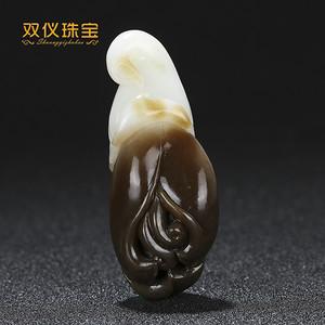 双仪珠宝 新疆和田玉糖白玉 巧色雕刻 玉兰花